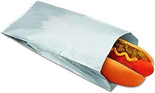 Packaging Dynamics 300456 Silver Foil Paper Hot Dog Bag, 3-1/2