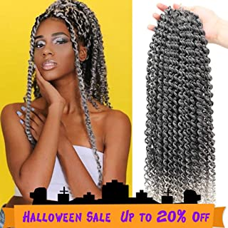 MOBOK 6packs Passion Twist Hair 18 Inch Long Bohemian Braids Ombre Grey Itch Free Wter Wave Braiding Hair(18inch, T-Grey)