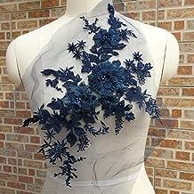 Aplique de encaje con cuentas de flor bordada en 3D con encaje para novia, aplique, perlas, tul para bricolaje, vestido de novia, decoración del hogar, azul marino, Tamaño libre