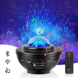 Projecteur Ciel Étoilé, Veilleuse Enfant Lampe Projecteur LED Étoile de Rotatif Nuage, Lecteur Musique avec Bluetooth et M...