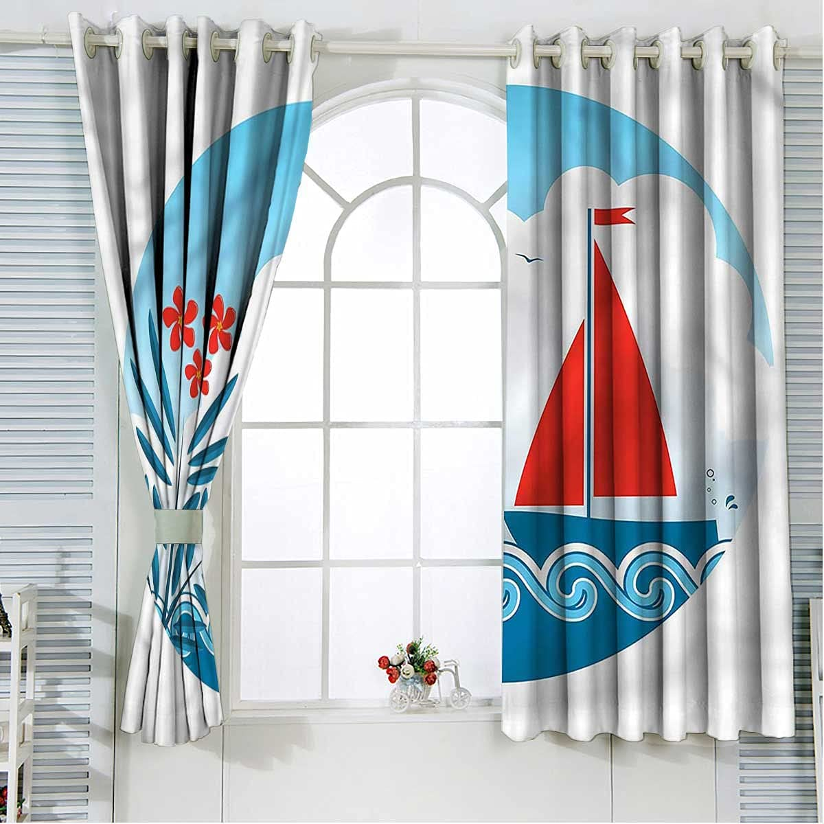 Nautical Kids Overseas parallel import regular Popular standard item Blackout Curtains 84 Length Sail and Inch Oleander