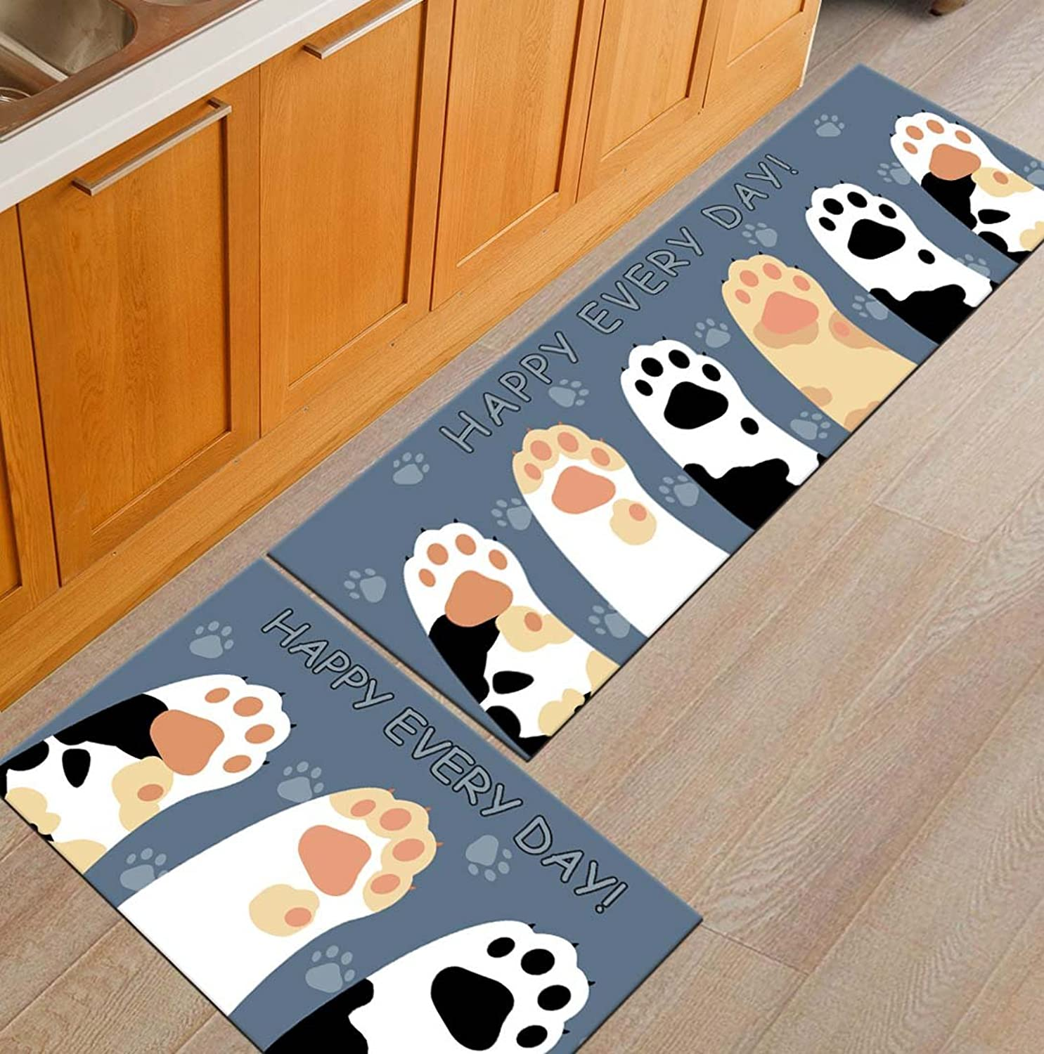 BABE MAPS Indoor Outdoor Doormat Entrance Welcome Mat Absorbent Runner Inserts Non Slip Entry Rug Funny Cat Paw Prints and Texts Happy Every Day, Home Decor Inside shoes Scraper Floor Carpet 23 x70