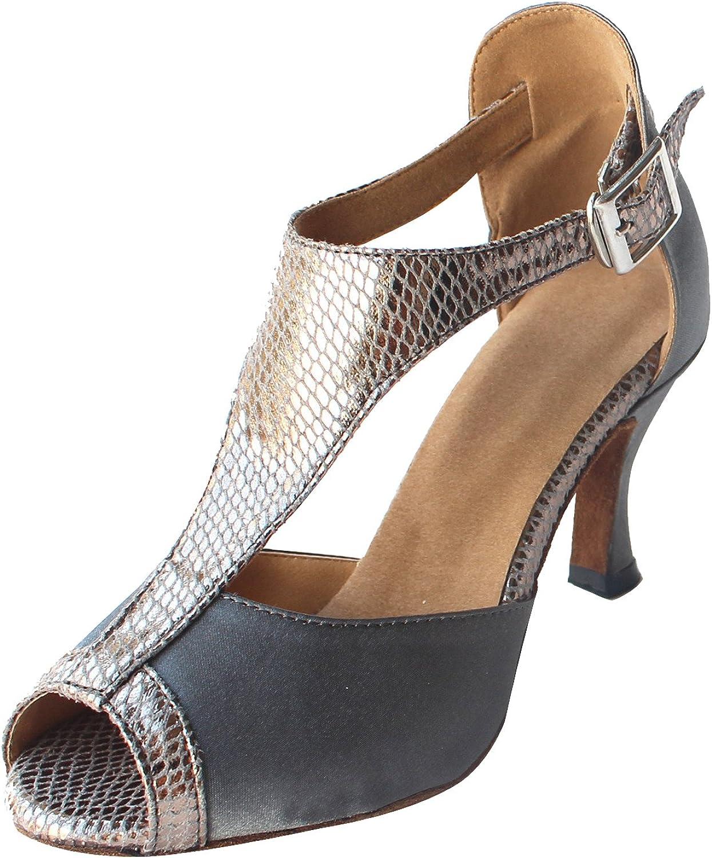Msmushroom Woman's Satin and Pu Dancing Performance Latin shoes 2 1 6 Heel