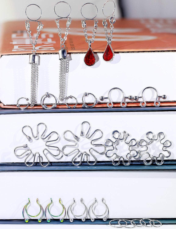 Oufksiyy Fake Nipple Ring Stainless Steel Non-Piercing Nipple Rings Clip On Nipplerings Faux Body Piercing Jewelry for Women Men 26PCS