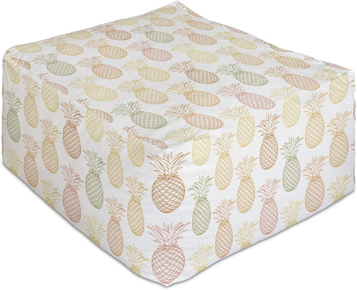 Ranking TOP13 Ambesonne Pineapple Rectangle Pouf Gra Don't miss the campaign Continuous Fruits Exotic