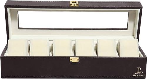 Wrist Watch Storage Box Display Case Organizer of Faux Leather Finish with Glass Window 6 Slot