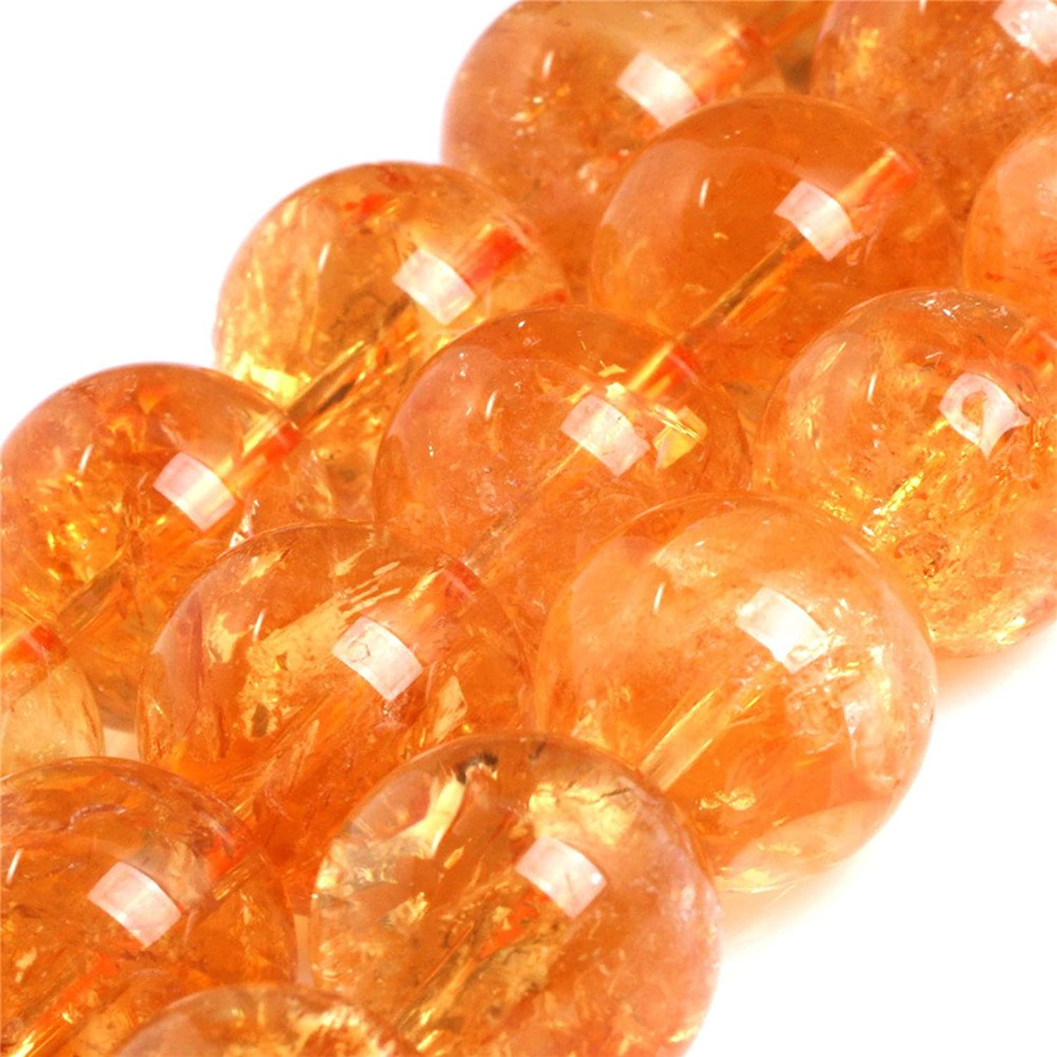 AAA Grade Natural Round Genuine Natural Yellow Citrine Precious Stone Beads for Jewellery Making 15'' (14MM)