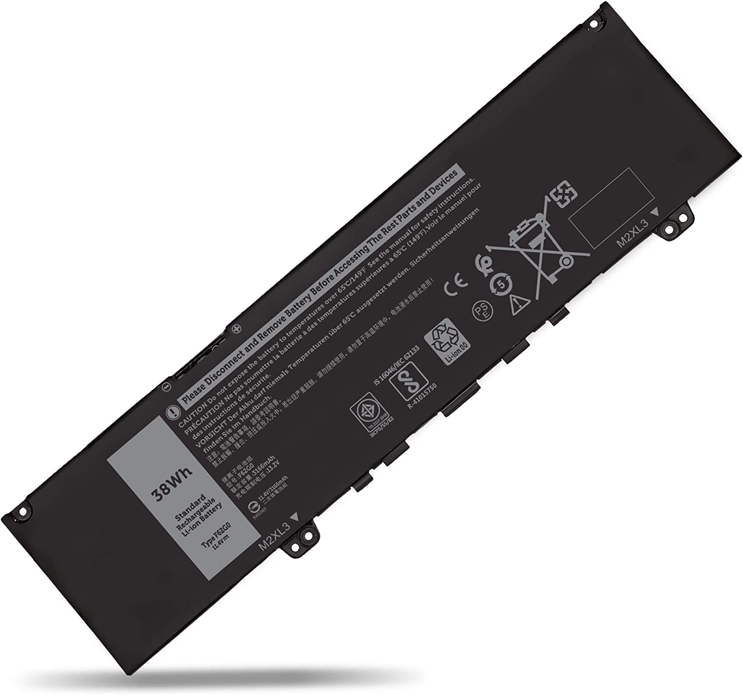F62G0 Laptop Battery for Dell Inspiron 13 7000 2-in-1 7373 7386 7370 7380 5370 P83G P87G P91G P83G001 P83G002 P87G001 P91G001 Vostro 5370 F62GO RPJC3 39DY5 039DY5 0RPJC3 11.4V 3-Cell