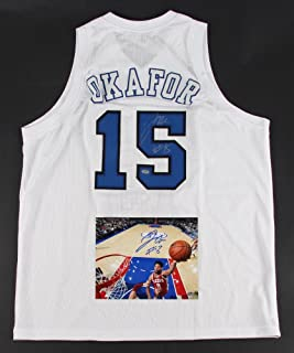 Lot of (2) Jahlil Okafor Signed Items Including (1) Duke Jersey & (1) 8x10 Photo (Schwartz COA) Philadelphia 76ers Photo