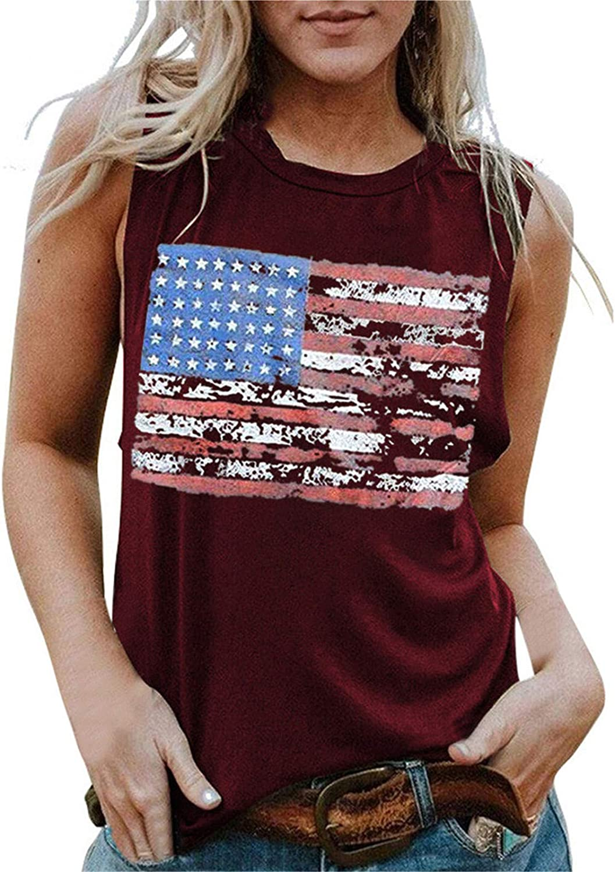 Aukbays 4th July Shirts for Women US Flag Print Tank Tops Women USA Stars Stripes Patriotic Summer Loose Vest Tees