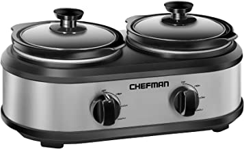 Chefman RJ15-125-D Double Slow Cooker & Buffet Server with 2 Removable 1.25 Qt. Oval Crocks, Pot Inserts Individually Heat Controlled, 2.5 Quarts, Stainless Steel