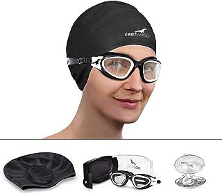 SealBuddy Panoramic Premium Swim Gear - Goggles + Cap + Ear & Nose Plugs