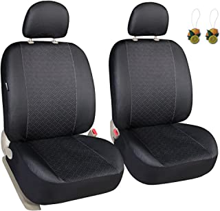 Leader Accessories Classic Low Back Cloth Two Car Front Seat Covers Solid Black Color - Fit Most Car, Truck, Suv, or Van