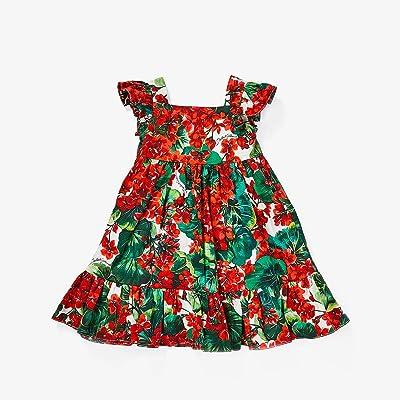 Dolce & Gabbana Kids Portofino Print Poplin Dress (Infant) (Geranium Print) Girl