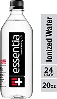 Essentia Water; 20-oz. Bottles; Case of 24; Ionized Alkaline Bottled Water; Electrolyte Infused for Smooth Taste; pH 9.5 o...