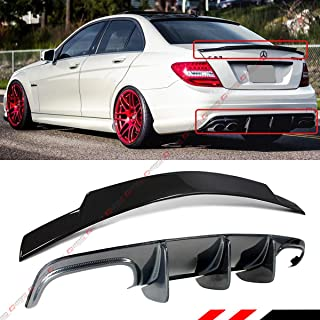 Fits for 2008-2011 Mercedes Benz W204 C250 C300 C63 AMG Big Shark Fin Carbon Fiber Lower Bumper Diffuser + Trunk Spoiler