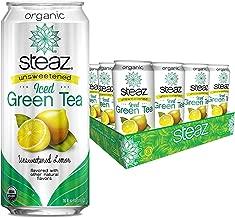 Steaz Unsweetened Iced Green Tea,, 16 OZ (Unsweetened Lemon)