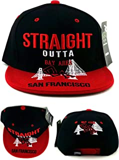 San Francisco New Leader Straight Outta The Bay Area SF Bridge Skyline Black Red Era Snapback Hat Cap
