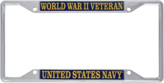 US Navy World War II Veteran License Plate Frame for Front Back of Car Officially Licensed United States