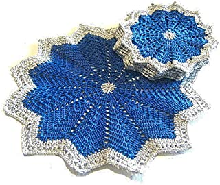 Set tapete y posavasos azules y plateados para Navidad de ganchillo - Tamaño: ø 25 cm - ø 15 cm - Handmade - ITALY