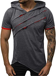 Mens Short Sleeve Hooded Shirt Summer Fashion Slim Fit Casual Blouse Plain Patchwork Comfortable Tops