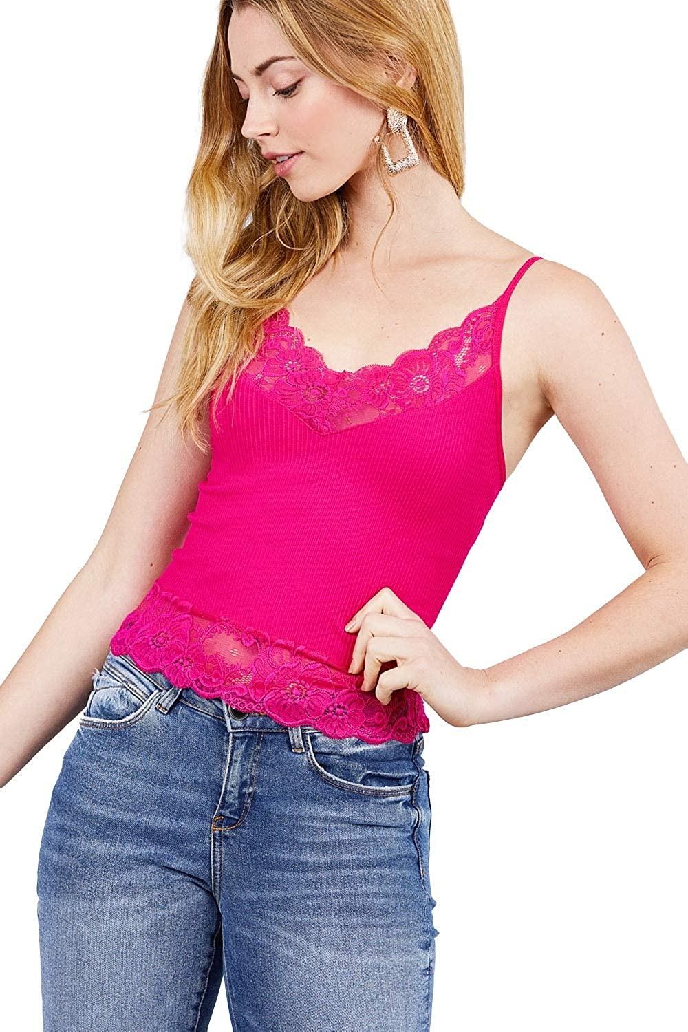Women's V-Neck with Lace Detail Ribbed Seamless Cami Top