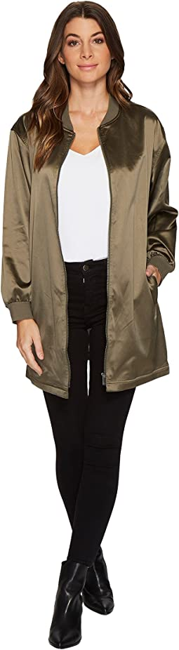 TWO by Vince Camuto - Ribbed Taffeta Long Bomber Jacket