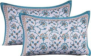 """RRC 100% Natural Cotton 2 Piece Pillow Cover Set - 18"""" x 27"""", Multicolor (Orange)"""