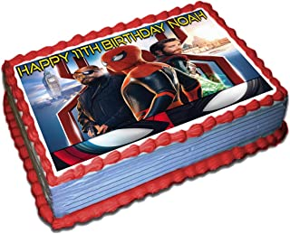 Spiderman Far From Home Personalized Cake Topper Icing Sugar Paper 1/4 8.5 x 11.5 Inches Sheet Edible Frosting Photo Birthday Cake Topper (Best Quality Printing)