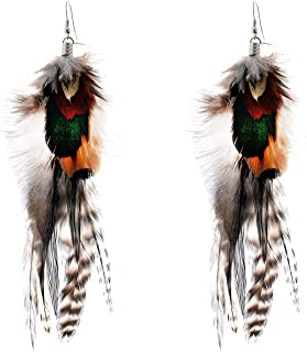 Bohemian Style Multicolor Pheasant Feathers Dangle Earrings for Women and Girls (02004768)