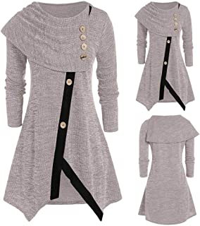 Pongfunsy Women's Long Sleeve Ladies Plus Size Chic Fashion Blouse Casual Solid Color Top Stylish Button T-Shirt