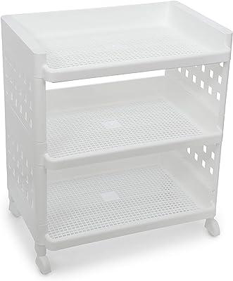 Selvel Buddy Big 3-Tier Storage Shoerack,(47.7 cm) x(32.3 cm) x(49.2 cm),(White)