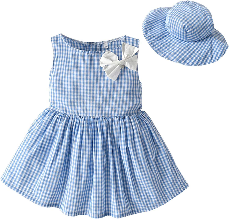 Toddler Baby Girls Sleeveless Bowknot Plaid Printed Princess Dress+HatSleeveless Dress with Bowknot, Plaid Dress