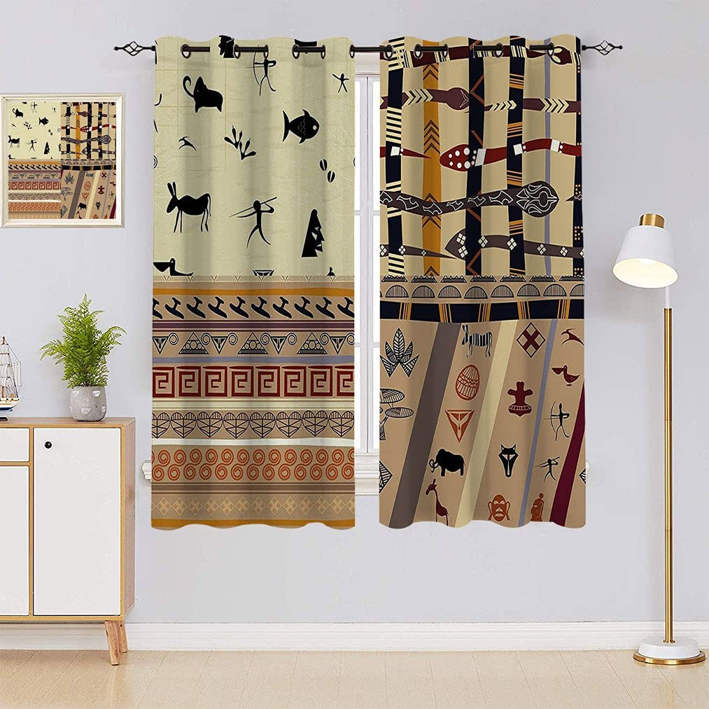 Amazing Nippon regular agency Decor Curtains Native Hunting Wilderness Zeb Animals Some reservation in