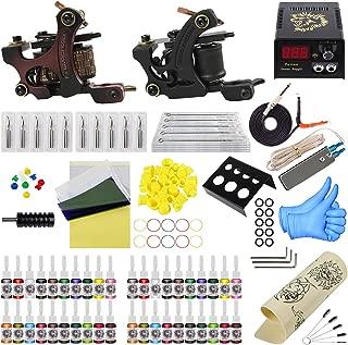 ITATOO Complete Tattoo Kit for Beginners Tattoo Power Supply Kit 40 Tattoo Inks 20 Tattoo Needles 2 Pro Tattoo Machine Kit Tattoo Supplies PX110016