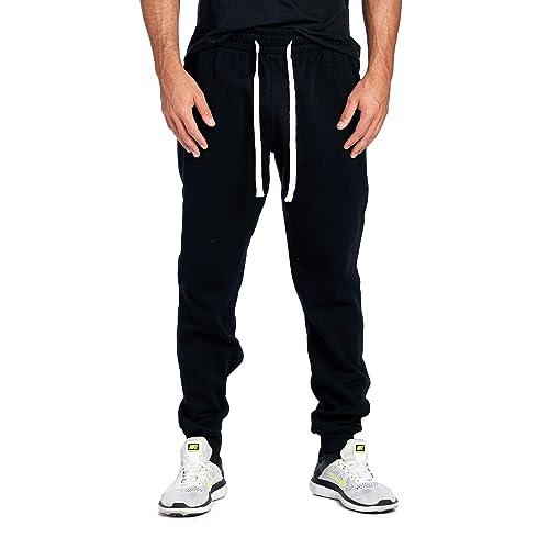 ede204ca2eeb99 ProGo Men's Casual Jogger Sweatpants Basic Fleece Marled Jogger Pant  Elastic Waist