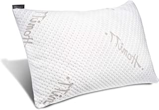 Homitt Shredded Memory Foam Pillow for Sleeping, Adjustable Bed pillow for Back and Side Sleeper, Breathable Bamboo Pillow, with Hypoallergenic Removable Washable Cover (Queen Size)