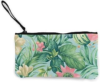 ズックバッグ 美味しいメロンと美しい花 ミニ財布 メイクポーチ 小銭入れ 綺麗 人気品 耐摩損 持ち運びやすい 手触りよく 便利 チャック付き プレゼント 男女兼用