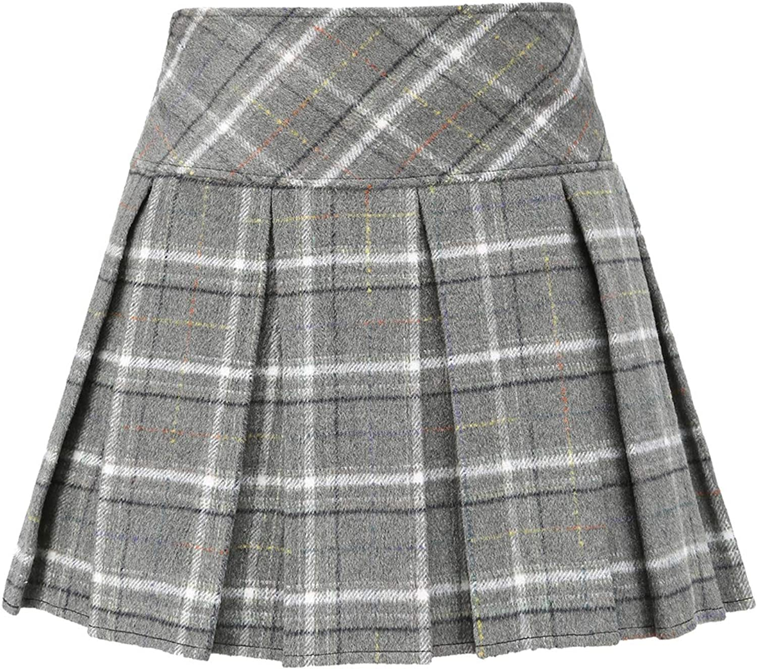 Max 56% OFF ZHANCHTONG Women's Casual Wool High Limited time trial price Short Plaid Min A-Line Waist