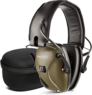 AWESAFE Electronic Shooting Earmuff [ Comes with Hard Travel Storage Carrying Case Bag], GF01+ Noise Reduction Sound Amplification Electronic Safety Ear Muffs and Storage Case