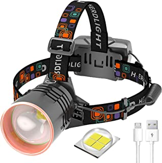2021 Super Bright 20000 Lumen LED Head Torch -USB Rechargeable Head Torches,120° Rotating & Zoomable Headlight, 3 Light Mo...