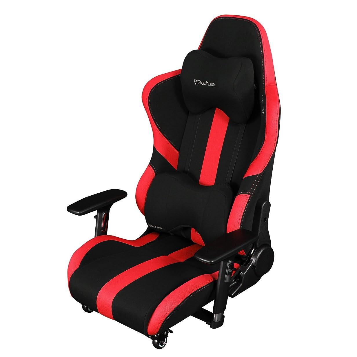 逆さまに床を掃除する怒っているBauhutte (バウヒュッテ) ゲーミングチェア プロシリーズ ゲーミング座椅子 リクライニング 4D稼働アームレスト採用 LOC-950RR-RD