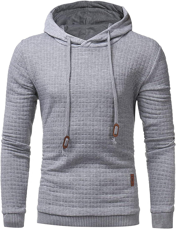 Men's Hoodies Fashion Athletic Hoodies Sport Sweatshirt Solid Color Fleece Pullover Drawstring Tops