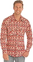 Rock & Roll Cowboy Men's and Distressed Aztec Print Long Sleeve Western Shirt - B2s1153