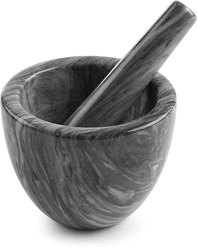 Modern Innovations Mortar And Pestle Set Organic Marble Stone Grinder 6 Ounce Capacity Grey