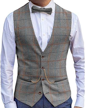 Lovee Tux - Chaleco para hombre, diseño de espiga de lana y ...