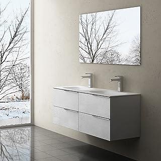 Sogood Meuble de salle de bains avec double lavabo ensemble de 2-pièces, Vasque et meuble sous vasque, Vanessa120 blanc st...