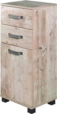 Milan Meuble Bas avec Porte amortissante en Panneaux de Particules mélaminés et métal et Bois