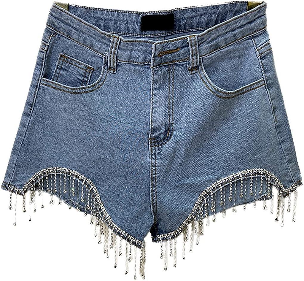 Womens Irregular Rhinestone Chain Tassel Stretchy Denim Shorts Slim Jeans Shorts
