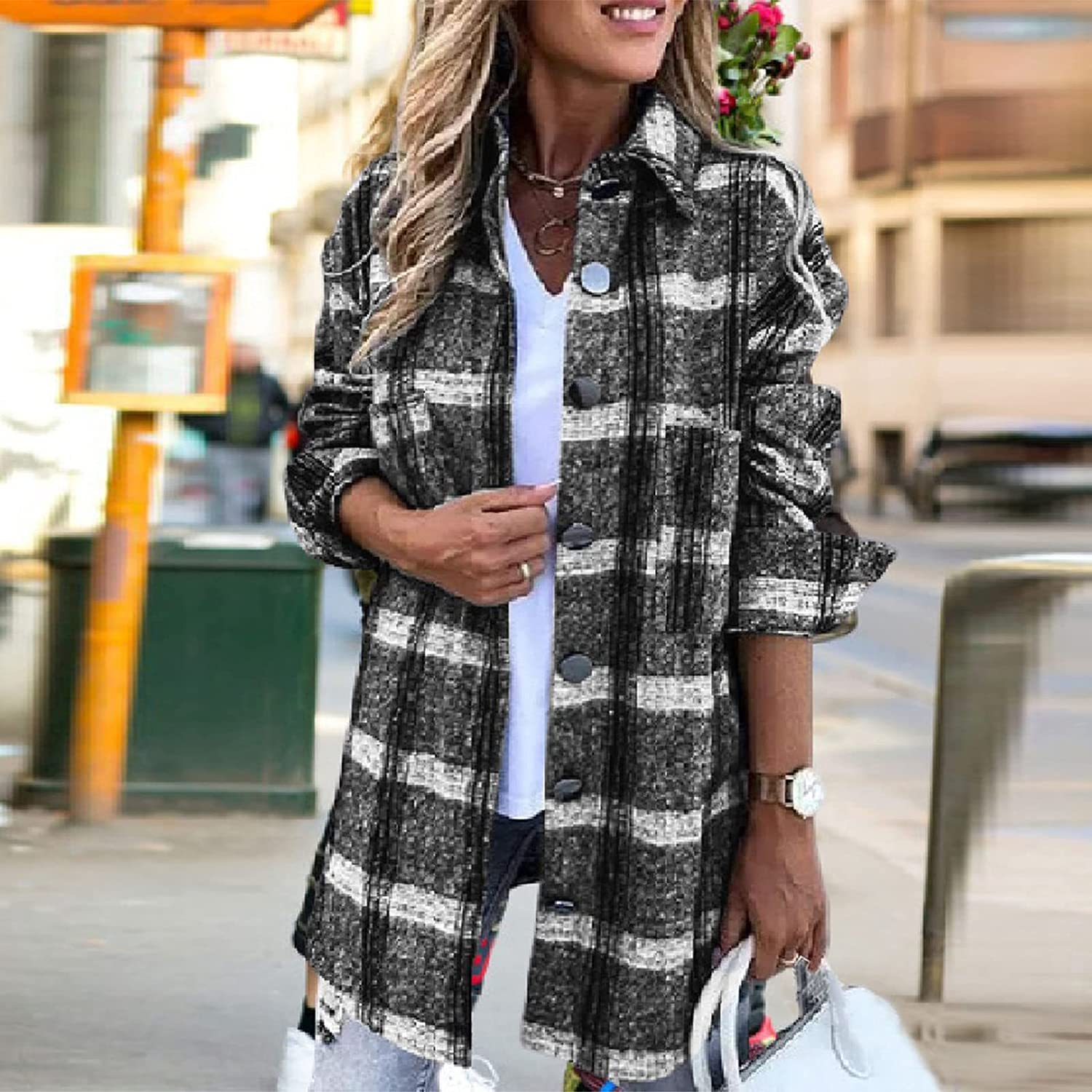 SZITOP Women's Winter Plaid Coat, Fashion Casual Loose Color Block Tops Long Sleeve Open Front Buttons Shirts Jacket Outwear